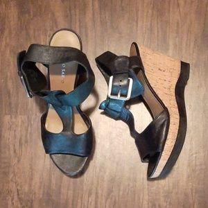 Franco Sarto Black Leather and Cork Sandals